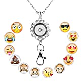 JewelryHouse Lanyard Office ID Badge Holder Locket Necklace With 12pcs Snap Button Charm (Emoji)