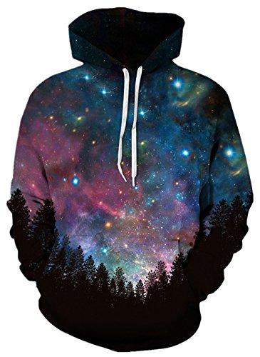 EnlaChic Unisex 3D Galaxy Printed Drawstring Pocket Hoodie Sweatshirt Aurora M (Aurora Fleece)