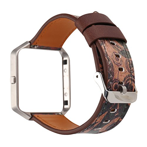 YOSWAN Replacement Band for Fitbit Blaze, Watchband Floral Soft Leather Strap Replacement Watch Band Wristband Bracelet Strap and Frame for Fitbit Blaze (Retro flower Green)