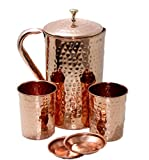 STREET CRAFT Pure Copper Pitcher Ayurveda Copper Jug Pitcher and Tumbler With Lid Copper Pitcher with Glass Copper Jug Hammered Finished