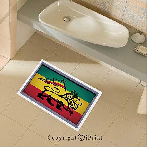 Removable DIY Floor Stickers Decor Judah Lion with a Rastafari Flag King Jungle Reggae Theme Art Print Decorative for Home Walls Floor Ceiling Kids Nursery Room Boy Girls Bedroom Bathroom Living Room ()