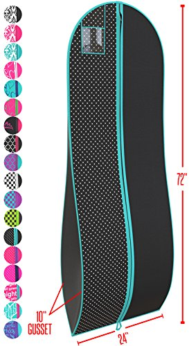 "Gusseted Gown Garment Bag for Women's Prom and Bridal Wedding Dresses - Travel Folding Loop, ID Window-72"" x 24"" with 10"" Tapered Gusset - Black and Tiffany Blue Polka Dot - And Black Blue Tiffany"