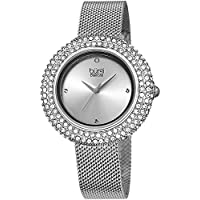 Burgi Women's BUR220SS Swarovski Crystal & Diamond Accented Silver Stainless Steel Mesh Bracelet Watch