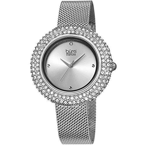 (Burgi Women's BUR220SS Swarovski Crystal & Diamond Accented Silver Stainless Steel Mesh Bracelet Watch)