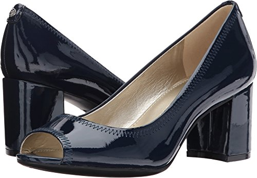 Anne Klein Womens Meredith Leather Peep Toe Classic Pumps, Navy Patent, Size -