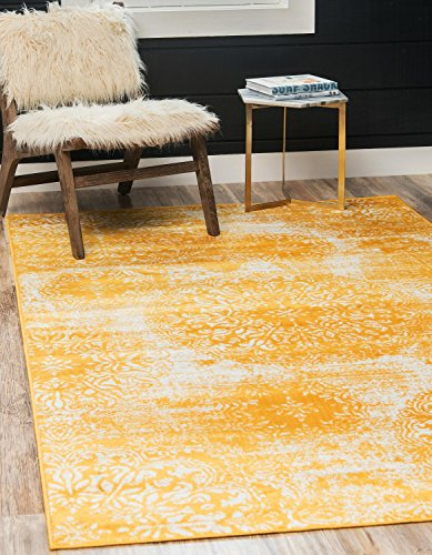 Unique Loom Sofia Collection Traditional Vintage Yellow Area Rug (4' x 6')