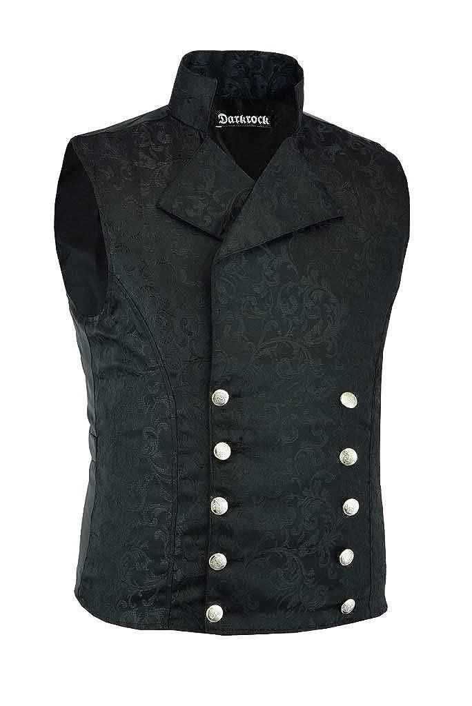 Darkrock Mens Brocade Double-Breasted Vest Waistcoat Gothic Aristocrat Steampunk Victorian