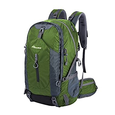 OutdoorMaster Hiking Backpack 50L with Waterproof Backpack Cover (Green/Grey)