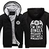 Dean Sam Winchester Hunt Hoodie Thick Zipper Fleece Winter Jacket for Men (XX-Large, Black 3)