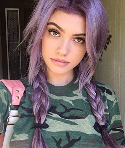 Price comparison product image Zenith Halloween Purple Lace Front Wigs with Bangs Cosplay Wigs Lilac Hair 24 inches