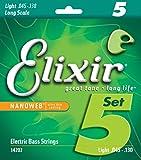 Elixir Strings Nickel Plated Steel 5-String Bass Strings w NANOWEB Coating, Long Scale, Light (.045-.130)