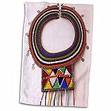 3D Rose Africa-Kenya. Necklace of Maasai Tribal Beads Hand Towel, 15'' x 22''