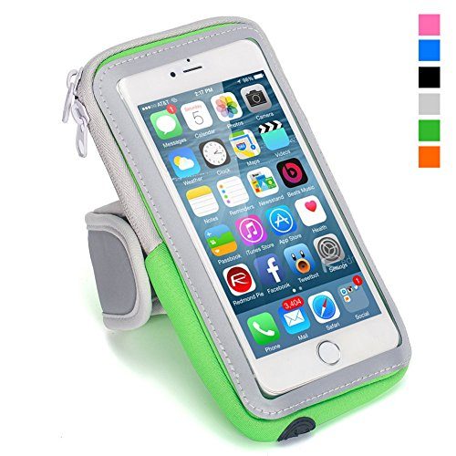 SKYNOW-SPORT iPhone 7 Plus Armband,Cell Phone Pouch iPhone 7 Plus Running Armband Water Resistant Sports Arm Band Gym Wrist Bag Touchscreen Sleeve Case with Extensible Belt for iPhone 7 Plus. (Green) (Apple Green Armband)