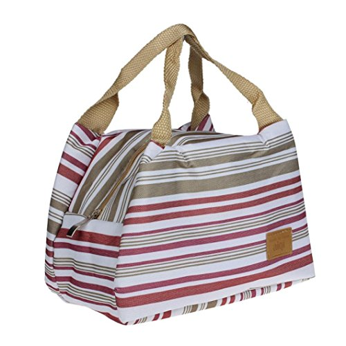 Suma-ma Stripe Insulation Lunch Bag, Thermal Insulated Zipper Package - Subscription Glasses