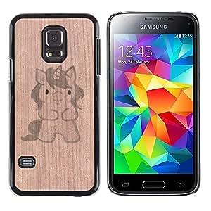 - Unicorn Cartoon Drawing Cute Pet - - Funda Delgada Cubierta Case Cover de Madera FOR Samsung Galaxy S5 Mini G870a BullDog Case