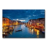 Canvas Print Wall Art Painting For Home Decor View On Grand Canal At Night Venice Italy The Basilica Of St Mary Of Health Or Basilica Di Santa Maria Della Salute At Night Paintings Modern Giclee Stretched And Framed Artwork The Picture For Living Room Decoration City Pictures Photo Prints On Canvas