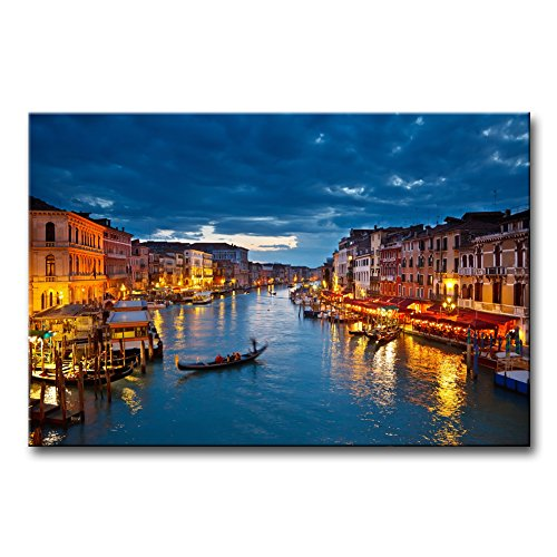 Venice Italy Art - Canvas Print Wall Art Painting For Home Decor View On Grand Canal At Night Venice Italy The Basilica Of St Mary Of Health Or Basilica Di Santa Maria Della Salute At Night Paintings Modern Giclee Stretched And Framed Artwork The Picture For Living Room Decoration City Pictures Photo Prints On Canvas