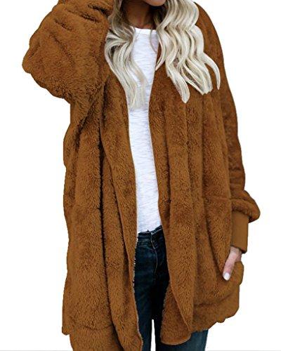 8a912a87be Womens Fuzzy Winter Open Front Cardigan Sherpa Fleece Jacket Hooded Coat  Outerwear - Buy Online in KSA. Apparel products in Saudi Arabia.