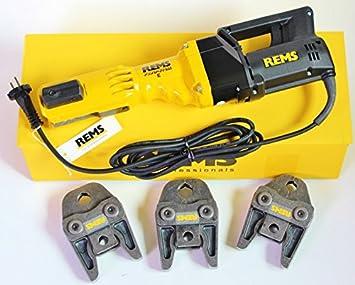 REMS, máquina de prensar Power Press E + 3 mordazas de prensa V M también para S: Amazon.es: Bricolaje y herramientas