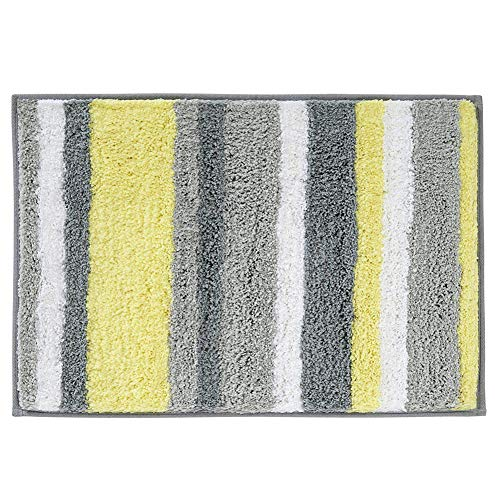 HEBE Microfiber Bathroom Rugs Non-Slip Striped Bath Mats Rug for Bathroom Absorbent Step Out Shower Accent Rugs Machine Washable(18×26