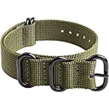 Ritche 18mm 20mm 22mm 24mm Nato Strap With Black Heavy Buckle Watch Band (Glossy Buckle)