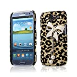 EVERMARKET(TM) Bling Diamond Bowknot Pearl Gold Leopard Hard Case Cover for Samsung Galaxy S3 i9300