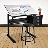 Mecor Adjustable Drawing Desk Drafting Table Art Craft Station with Three Drawers and Stool,White