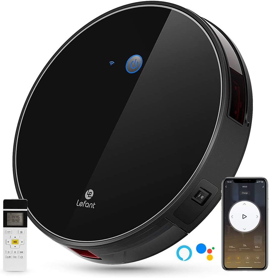 LEFANT Robot Vacuum, M520 Robotic Vacuums Cleaner, 2200Pa Strong Suction, Wi-Fi Connectivity Robotic Vacuum, Compatible with Alexa and Google, Self-Charging, Good for Pet Hair, Carpets, Hard Floors