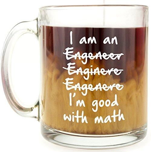 Engineer or Engineering Student Present - Funny Glass Coffee Gift Mug - I'm Good With Math