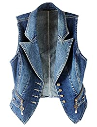 LifeShe Women Casual Sleeveless Denim Jean Cropped Vest Jacket