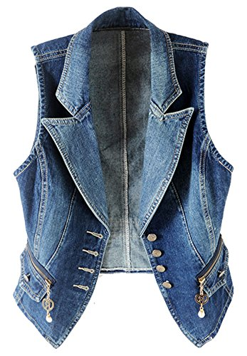 LifeShe Casual Sleeveless Denim Jean Cropped Vest Jacket (Blue, - Jacket Cropped Sleeve Puff