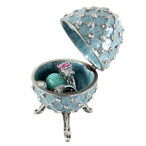 Enamel Trinket Box (Blue Egg Trinket Box with Simulated Pearl and Crystals)