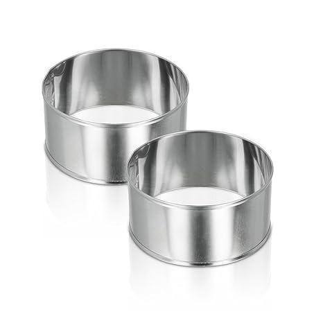Metaltex - Juego de 2 Aros para emplatar de Acero Inoxidable, 85 x 42 milímetros