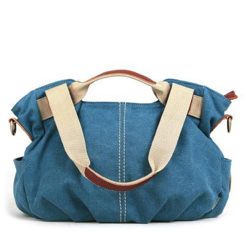 Eshow Women's Casual Canvas Hobo Shoulder Bag, Blue (Fabric Handbags)
