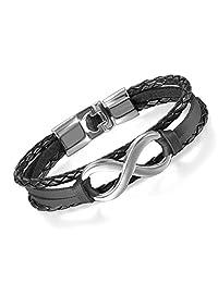 Flongo Men's Womens Vintage Leather Infinity Love Forever Wrap Cuff Bracelet, Infinity Bracelet, Couple Friendship Wristband, Womens Mens Leather Bracelet
