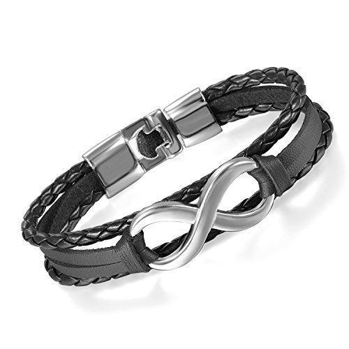 Flongo Men's Womens Vintage Black Leather Silver Infinity Love Forever Wrap Cuff Bracelet, 7.9 inch, Infinity Bracelet, Couple Friendship Wristband, Womens Mens Leather Bracelet