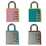 L-Anan Combination Lock 4 Digit Padlock for School Gym Locker, Sports Locker, Fence, Toolbox, Case, Hasp Storage (4 Color Locks)