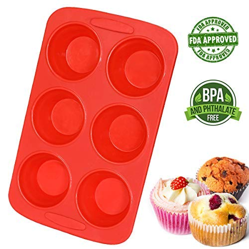 Muffin Pan Silicon Jumbo 6 Cupcake Pan Nonstick Baking Molds with Sturdy Frame  BPA Free Pinch Test Approved Muffins Recipe EBook