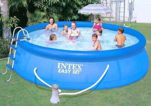 Intex Pool Easy Komplettset 457 x 107 cm mit Filterpumpe, Leiter, Abdeckplane,Bodenplane