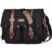 LUXUR 16 Inch Messenger Bag Shoulder Laptop Bags Military Satchel Vintage Canvas Travel Bag Bookbag