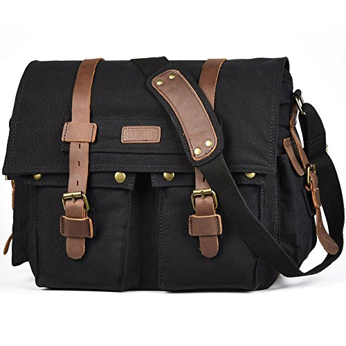 LUXUR 16 Inch Messenger Bag Shoulder Laptop Bags Military Satchel Vintage Canvas Travel Bag Bookbag (Satchel Bag)