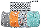 #6: Anmababy 4 Pack Adjustable Size Waterproof Washable Pocket Cloth Diapers with 4 Inserts and Wet Bag