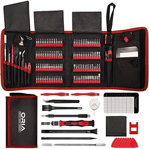 ORIA Precision Screwdriver Set (New Version) 142 in 1 with 120 Bits Mini Torx Screwdriver Set Magnetic Repair Tool Kit Include for Electronic iPhone Computer MacBook Jewelers Watch Game Console Red