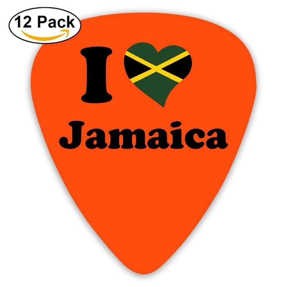 Fibpaecei Guitarist Electric Guitar Plectrums Print I Love Jamaica 0.46Mm/0.73Mm/0.96Mm 12 Pack Guitar Accessories For Men Women Kids