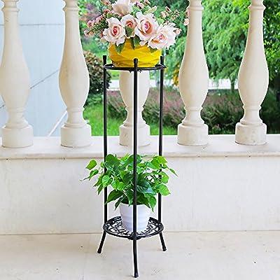 Soporte de la planta Maceta de macetero,Hierro forjado Metálico 100% Diseño de la bandeja Libre estante de flor permanentes Multicapa Pérgola El balcón Piso Sala de estar Interior Aire libre-H H:80cm(31inch): Amazon.es: