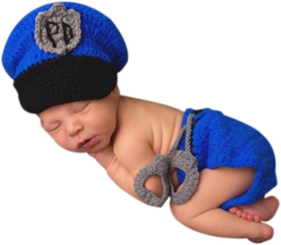 AKAAYUKO Recién Nacido Bebé Hecho A Mano De Punto Fotografía Prop Conjuntos (Policía)