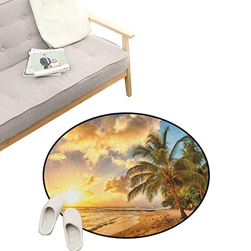 - Beach Round Area Rug Non-Slip ,Tropic Sandy Beach with Horizon at The Sunset and Coconut Palm Trees Summer Photo, Living Room Bedroom Coffee Table 39