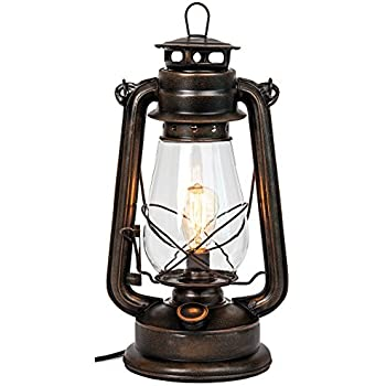 Good Dimmable Electric Lantern Lamp With Edison Bulb Included Rustic Rust Finish