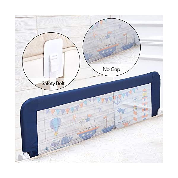 59 Inches Toddler Bed Rail Fold Down Safety Baby Bed Guard with NBR Foam Including 1 Pc Safety Strap by KOOLDOO (Blue) 6