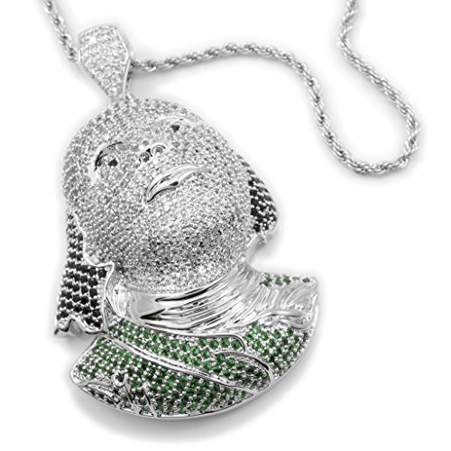 18K White Gold Plated Multi Color CZ Ben Franklin Pendant with ROPE Chain (Silver)